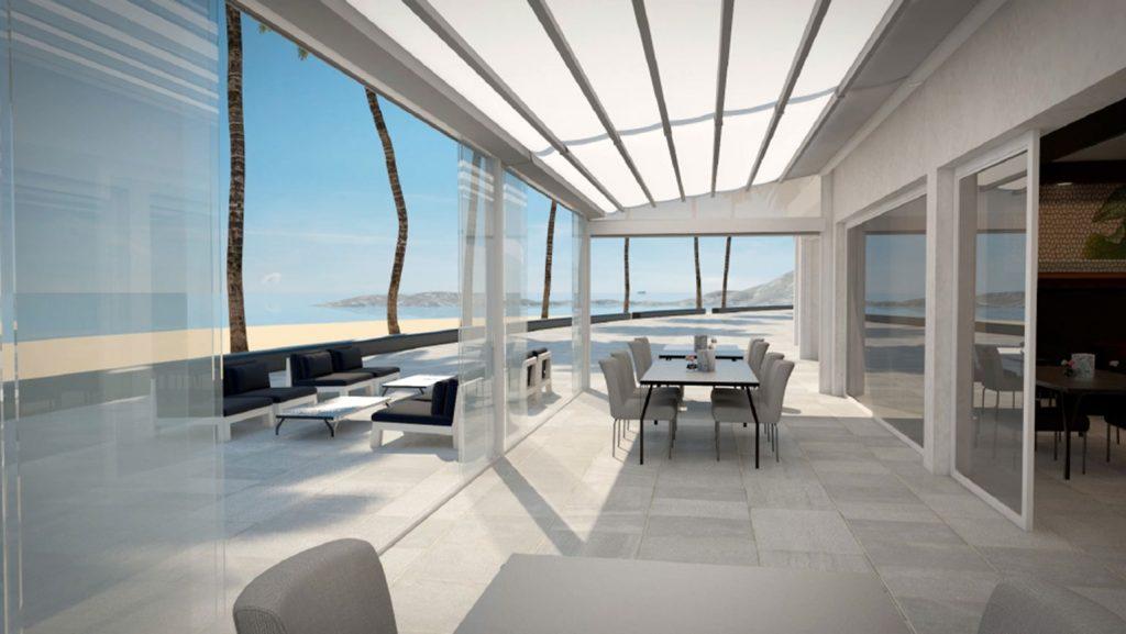 Une pergola à toile coulissante sur la terrasse d'une belle habitation