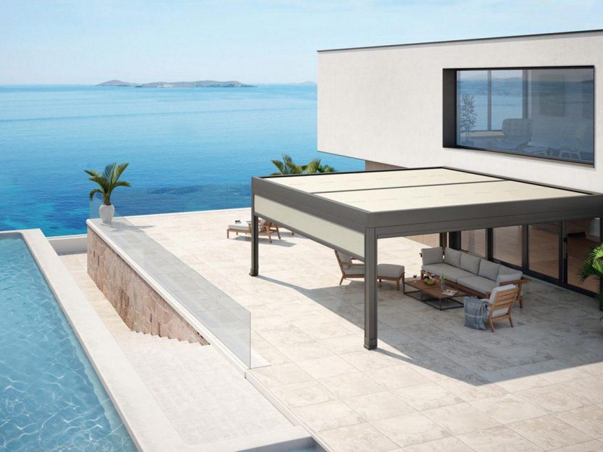 aménagement terrasse avec une pergola store markilux marquant