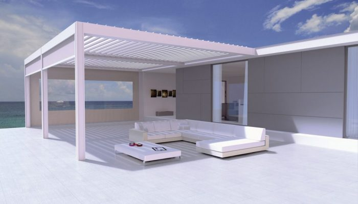 toiture terrasse bioclimatique réalisée avec une pergola camargue de Renson